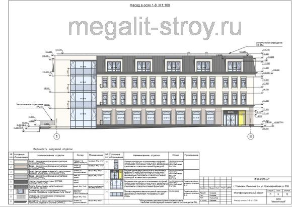 Проект фасада объекта в осях
