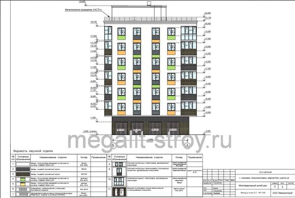 Ведомость наружной отделки фасада жилого дома в осях 5-1